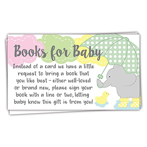 50 Elephant and Clouds Books for Baby Shower Request Cards - Invitation Inserts (Invitation Umbrella Baby Shower)