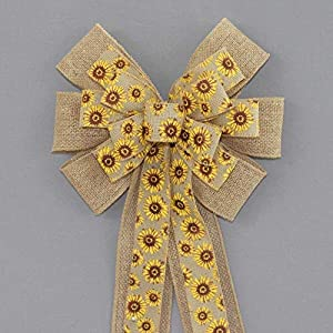 Sunflower Burlap Spring Easter Wreath Bow - available in 2 sizes 68