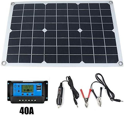 Walmeck- 50W 12V / 5V monokristallines Silizium Solarpanel Dual Output USB Solar-Ladegerät mit 10/20 / 30A / 40A / 50A Solarladeregler