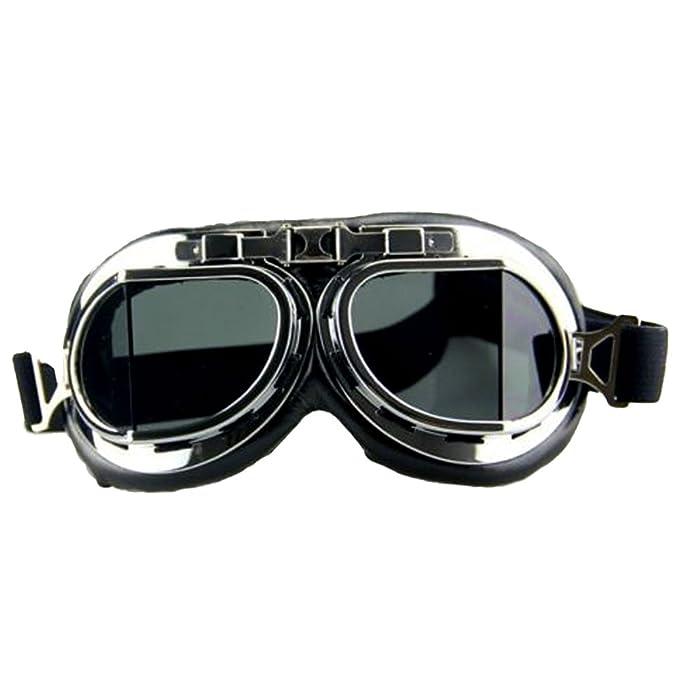 f1c58747377 Vintage Pilot Motorcycle Motorbike Goggles Steampunk Goggles Retro Flying  Helmet Glasses Anti-UV for Christmas Halloween Sandstorm Skiing   Amazon.com.au  ...
