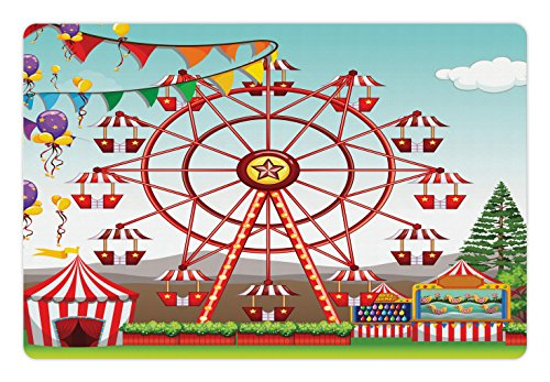 Distant Hills (Circus Pet Mats for Food and Water by Lunarable, Ferris wheel at the Amusement Park Illustration Distant Hills Flower pots, Rectangle Non-Slip Rubber Mat for Dogs and Cats, Multicolor)