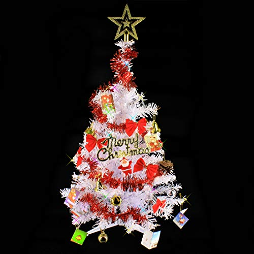 Wideskall 2 Feet Tabletop Artificial Mini Christmas Pine Tree with LED Lights & Ornaments (White Tree Multi Color Light)