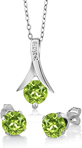 Natural Peridot Earring For Women Sterling Silver Fashion Jewelry for Gift Handmade Round Shape 4-Stone