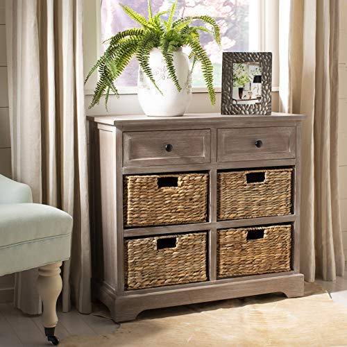 Safavieh American Homes Collection Herman Whitewash Wicker Basket Storage Unit