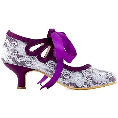 Mariee Rond Escarpins Mary Chaussures Janes De Dentelle Ruban Pourpre Hc1521 Bout Elegantpark Femme Mariage Bal 8pPqH