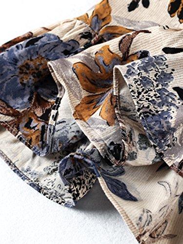 Simplee Apparel La cintura corte frío hombro correa halter V Neck Ruffle mini vestido estampado floral Flare Beige