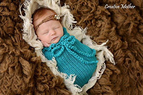 Creative Mother Christmas Cocoon Sleeping Bag for Newborn Boy Girl Cotton Knitted Crochet Photography Prop (Blue) (Newborn Cocoon)
