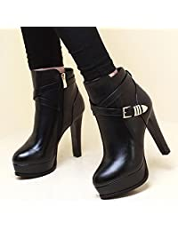 Womens Fashion Cross Strap High Heel Ankle Boots