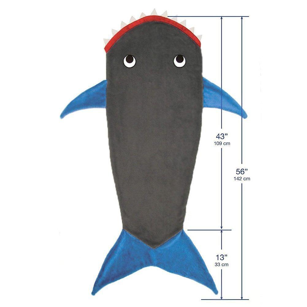Manta-saco caacute;lida y suave para nitilde;os de 3-12 ntilde;os con dise ntilde;o de tiburón. Perfecta para acurrucarse en el sofaacute; ...