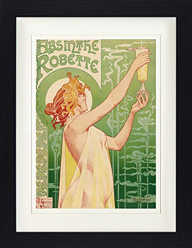 Historical Advertisement Framed Collector Poster - Green Fairy, Absinthe Robette, Henri Privat Livemont, 1896 (16 x 12 inches)