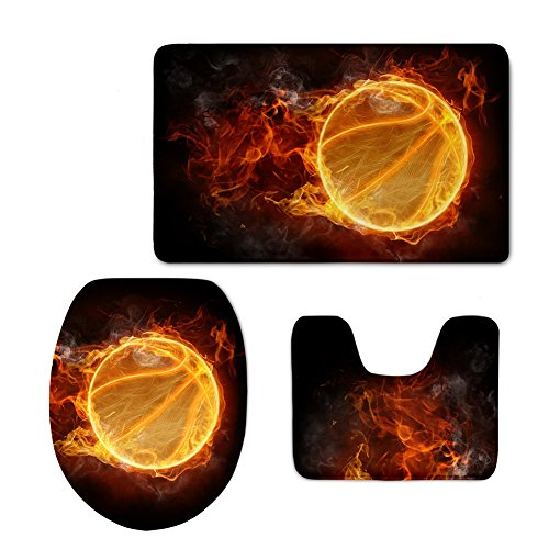 CHAQLIN Fire Basketball Printing 3 Pcs Bathroom Rug U-Shaped Toilet Floor Mat Pedestal Cover (Basketball Shaped Mat)