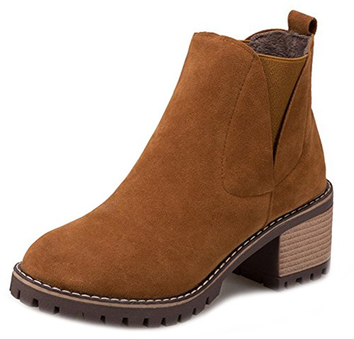 Toe Faux Booties Aisun Round On Women's Brown Suede Ankle Elastic Slip IPwntg