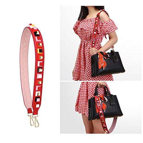 Umily Gold Farbe Haken Ersatz Niet Breite Cross-Body Strap 4,0 cm Breite Geldbörse Strap Handtaschen Schulter Taschen Strap mit bunten Rivet 90cm Rot
