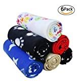 DC-BEAUTIFUL 6 pack Mixed Puppy Blanket Cushion Dog Cat Fleece Blankets Pet Sleep Mat Pad Bed Cover with Paw Print Kitten Soft Warm Blanket for Animals
