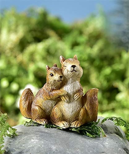 Gift Craft Miniature Woodland Animal Fairy Garden Mini Forest Polystone Figurines Squirrel Couple