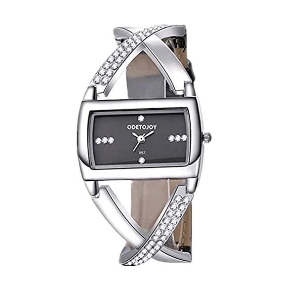 ODETOJOY Mujeres Rhinestone Relojes Lujo Pulsera Brazalete Relojes Correa Cuero Reloj Mujer