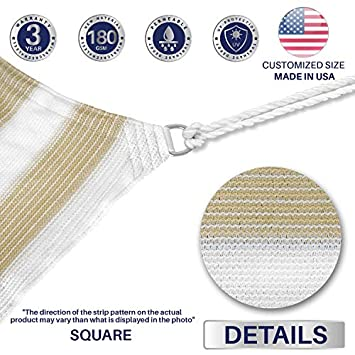 Windscreen4less 14 x 14 Square Sun Shade Sail – Wide Beige White Stripes Durable UV Shelter Canopy for Patio Outdoor Backyard 4 Pad Eyes Included – Custom Size