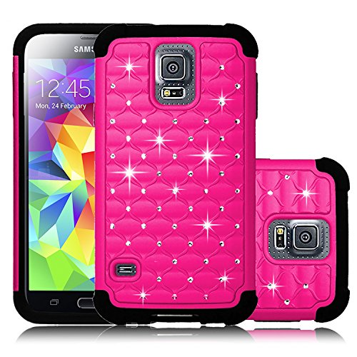Galaxy S5 Case, Venoro Diamond Studded Bling Crystal Rhinestone Dual Layer Hybrid Cover Silicone Rubber Hard Case for Samsung Galaxy S5 I9600 (Verizon, AT&T Sprint, T-mobile) (Hot - Cover Silicone Rhinestone Case