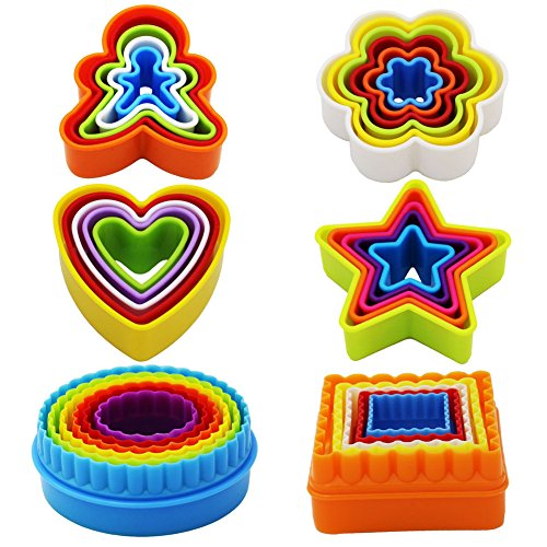 Cutter Set, Biscuit Cutter Set, Multi-size Sandwich Fondant Cake Fruit Vegetable Shapes Cutter Set (Square, Round, Star, Heart, Flower, Gingersnap) ()