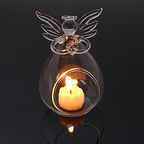 Hanging Tealight Candle Holder Clear Angel Crystal Candlestick Home Garden Votive Holders (Angel Candle - Hanging Angel