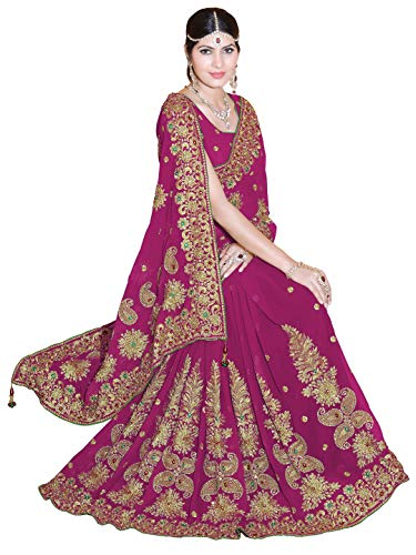 - Sourbh Designer Saree for Women Party Wear Heavy Indian Sari Dress (9873_Pink)