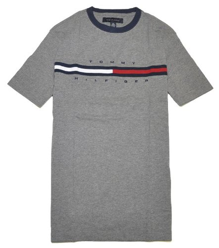 Tommy Hilfiger Men Classic Fit Logo T-Shirt (Medium, Dark grey)