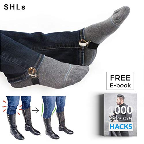 Cheap SHLs [Christmas Extra Strong Elastic Boot Straps Pant Clips | Adjustable Boot Clips Pant Stirrups Boot Snugs for Smooth Jeans in Boots | Stainless Steel Sturdy Clip Leg Strap