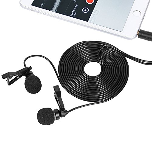 Xlr Garageband Cable Microphone (Lavalier Dual Headed Recording Mic Mini Lapel Microphone with 3.5mm Headphone Jack Audio Adapter for iphone ipad ipod Samsung Android and Windows Smartphones)