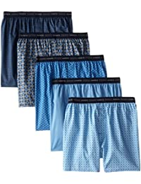 Hanes Red Label Men's 5-Pack Printed Woven Exposed Waistband Boxers