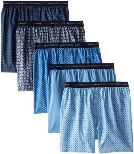 Hanes Men's 5-Pack FreshIQ Printed Woven Exposed Waistband Boxers, Print, Medium Printed Cotton Boxer