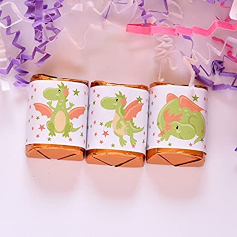 90 Dragon Party Candy Wrappers, Dragon Party Favor Labels, Dragon Birthday Supplies, Dragon Party - Hersheys Mini Candy Bar Wrappers