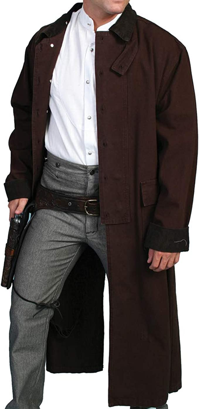 Men's Steampunk Jackets, Coats & Suits Long Canvas Duster  AT vintagedancer.com