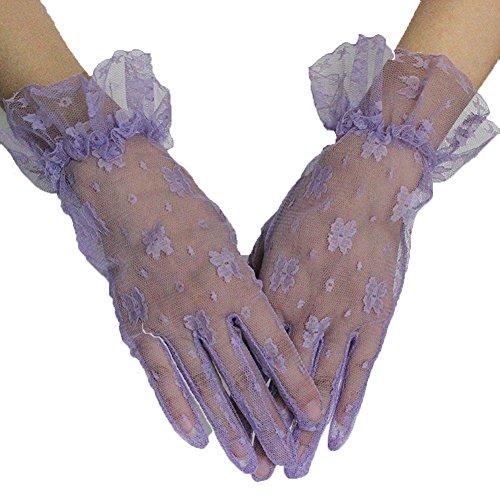 PearlBridal Women's Vintage Short Floral Lace Wedding Gloves 2018 Lace Finger Prom Gloves Lavender