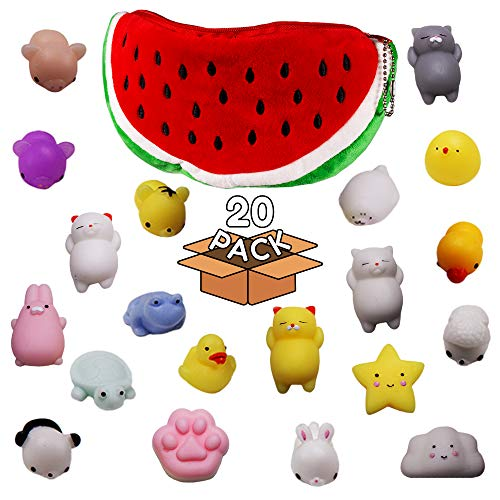 Windy City Novelties 20 Pack Mochi Squishy Animal Toys - Cute Soft Watermelon Carrying Pouch - Kawaii Squishies -