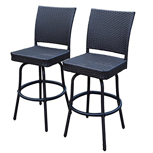 Oakland Living Ice Cooler Carts Elite All Weather Resin Wicker Swivel Bar Stool (2 Pack), Coffee
