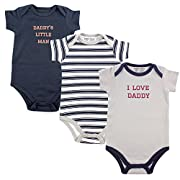 Luvable Friends Baby Sayings Bodysuit 3pk, Boy Daddy, 6-9 Months