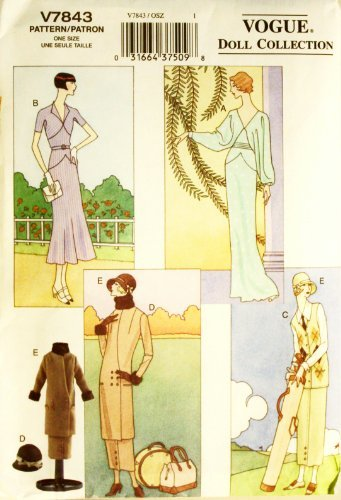 Vogue 7843 - 11.5-Inch Doll Clothes C. 1920s & 1930s - Patterns for 4 Outfits (Vogue Doll Collection) ()