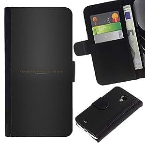 YiPhone /// Tirón de la caja Cartera de cuero con ranuras para tarjetas - Seguir adelante a través de secuencias de comandos Infierno - Samsung Galaxy S4 Mini i9190