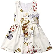 i-Auto Time Toddler Baby Girl Dress Clothes Floral Skirt Sleeveless Button Dresses