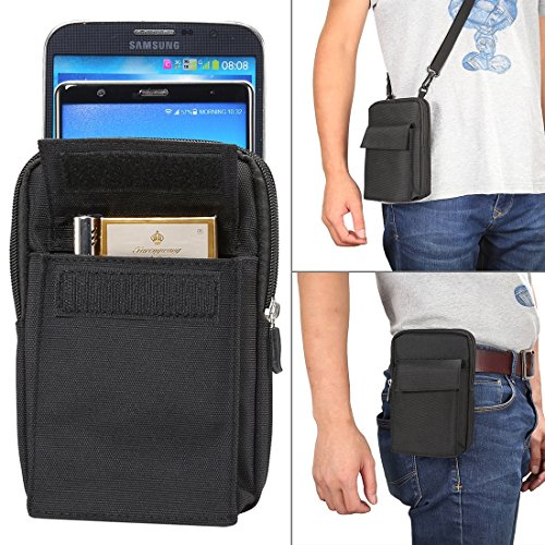 Dig dog bone Cellphone Covers 6.4 inch and Below Universal Polyester Men Vertical Style Case Shoulder Carrying Bag with Belt Hole & Climbing Buckle for Smartphones Protect Cellphone