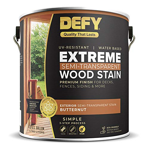 DEFY Extreme 1 Gallon Semi-Transparent Exterior Wood Stain, Butternut (Cost To Strip And Stain A Deck)