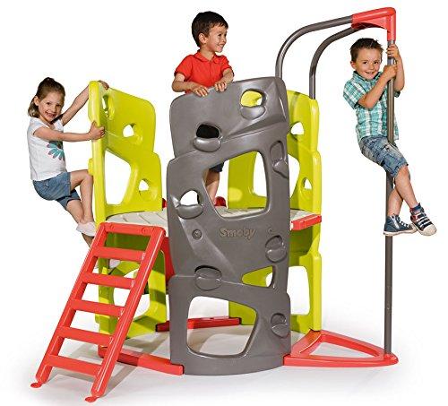 Smoby Spielhaus Abenteuer Turm Kinderhaus Kletterturm mit Rutsche Gartenhaus