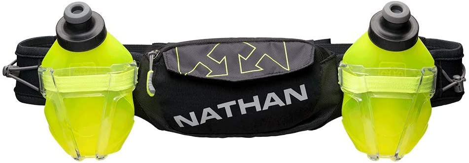 Nathan Hydration Running Belt Trail Mix Plus – Adjustable Running Belt TrailMix Includes 2 Bottles Flask with Storage Pockets. Fits Most iPhones and Smartphones
