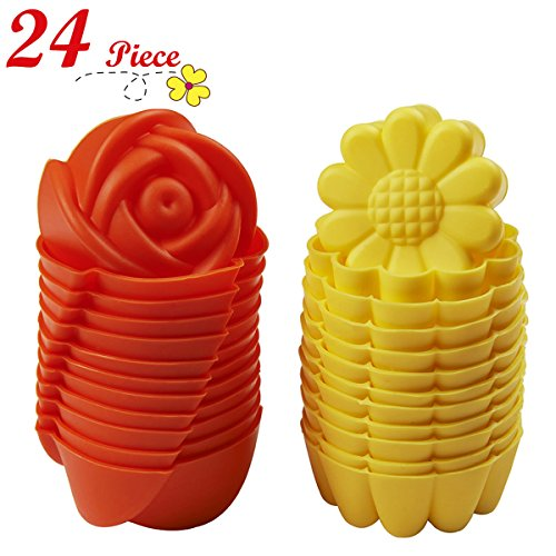 Chefaith 24 Pcs Reusable Silicone Mini Baking Cups, Cupcake Liners, Muffin Cups [12 Sunflower & 12 Rose Shaped Mini Cups, Yellow / Orange] - Non-Stick, Heat Resistant (Up to 480°F) Fun Baking Molds (Dinosaur Cupcake Pan compare prices)