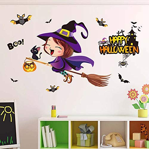 (iwallsticker Happy Halloween Pumpkins Spooky Cemetery Witch Girl and Bats Tomb Wall Decals Window Stickers Halloween Decorations for Kids Rooms Nursery Halloween)