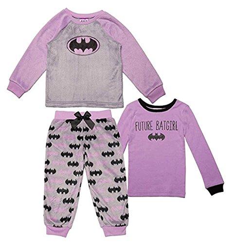 ' 3-Piece Pajama Set with Fleece Bottoms, Purple (6X) ()
