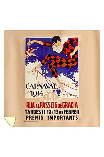 Carnaval 1934 Barcelona Vintage Poster Spain c. 1933 (88x88 Queen Microfiber Duvet Cover) by Lantern Press