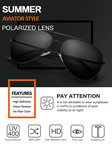 LUENX Men Aviator Sunglasses Polarized Women:UV 400 Protection 60MM Fashion Style, Driving