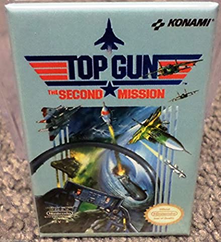 Top Gun Second Mission Nintendo NES Vintage Game Box 2x3 Refrigerator MAGNET - Collectible Refrigerator Magnet