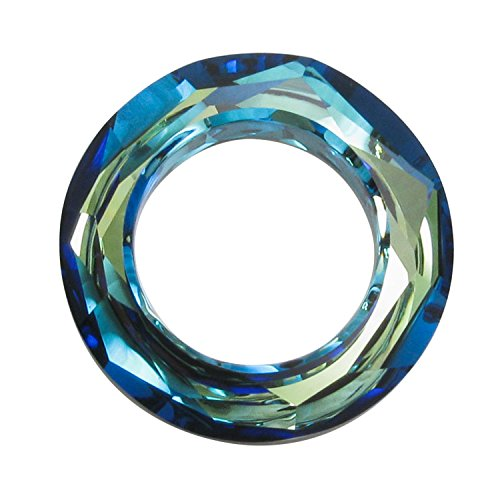 1 pc Swarovski Crystal 4139 Round Cosmic Ring Frame Charm Pendant Bermuda Blue 20mm / Findings / Crystallized (4139 Cosmic Ring Pendant)